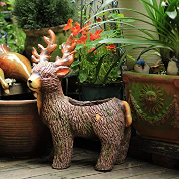 Figura Decorativa para jardín Elk Animal Flower Pot Figurine Resina A Prueba De Agua Jardín Estatua Para Yard Lawn Landscape Decoration Crafts Gift - 37 * 26 * 51cm A: Amazon.es: Bricolaje y herramientas