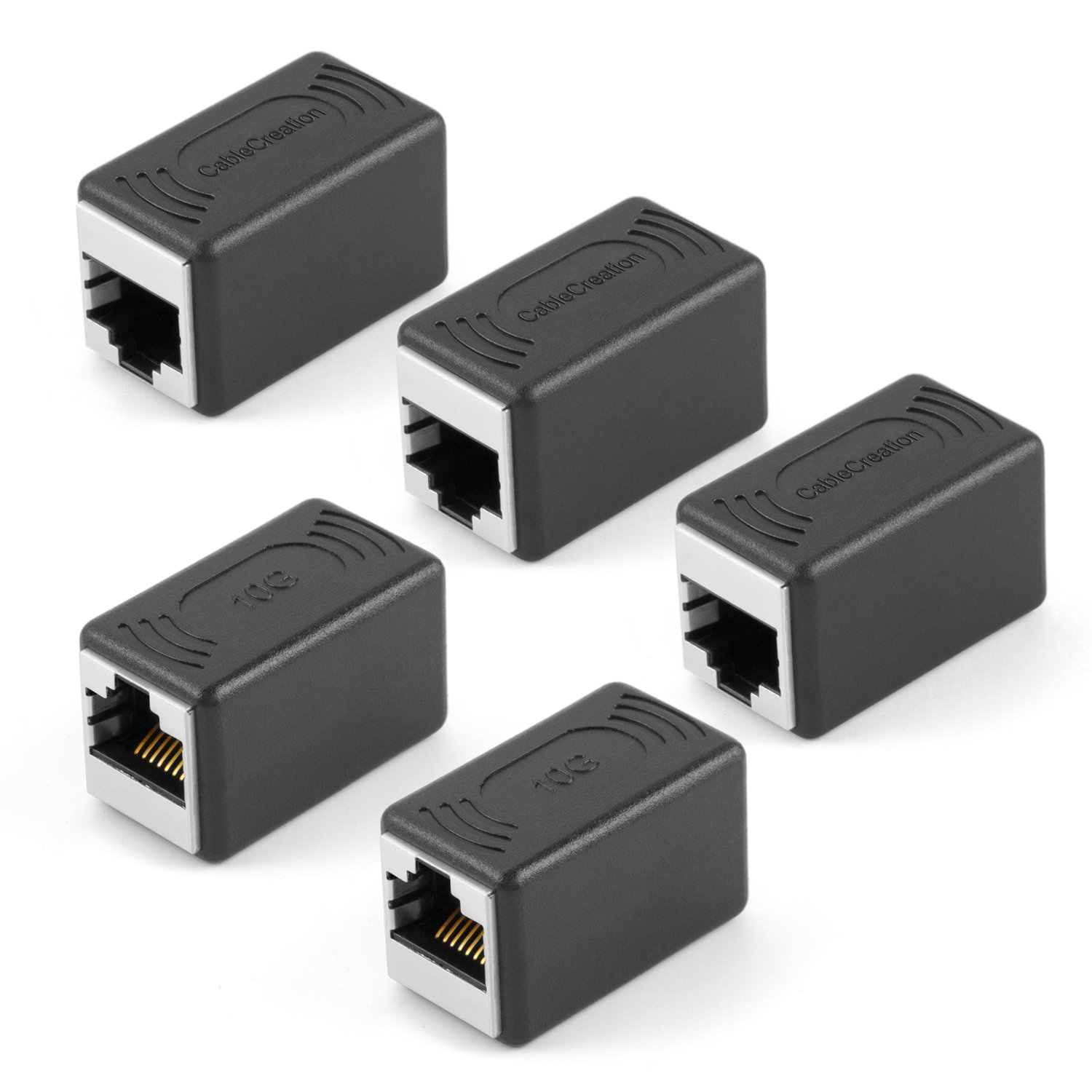 CableCreation RJ45 Coupler Cat7/Cat6/Cat6a/Cat5e/Cat5 Ethernet Cable Extender Adapter Straight Modular In-Line Coupler Female to Female RJ45 Punch-Down Keystone Jack, Black CL0254