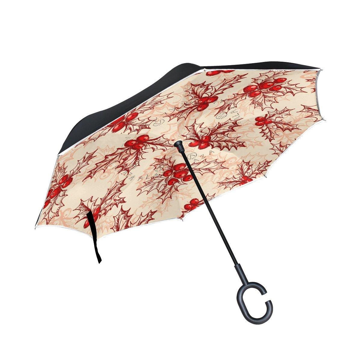 TIZORAX Holly Berry inversé double couche droites parapluies sur l'envers réversible Parapluie avec poignée en forme de C pour la pluie Soleil de voiture Utilisation