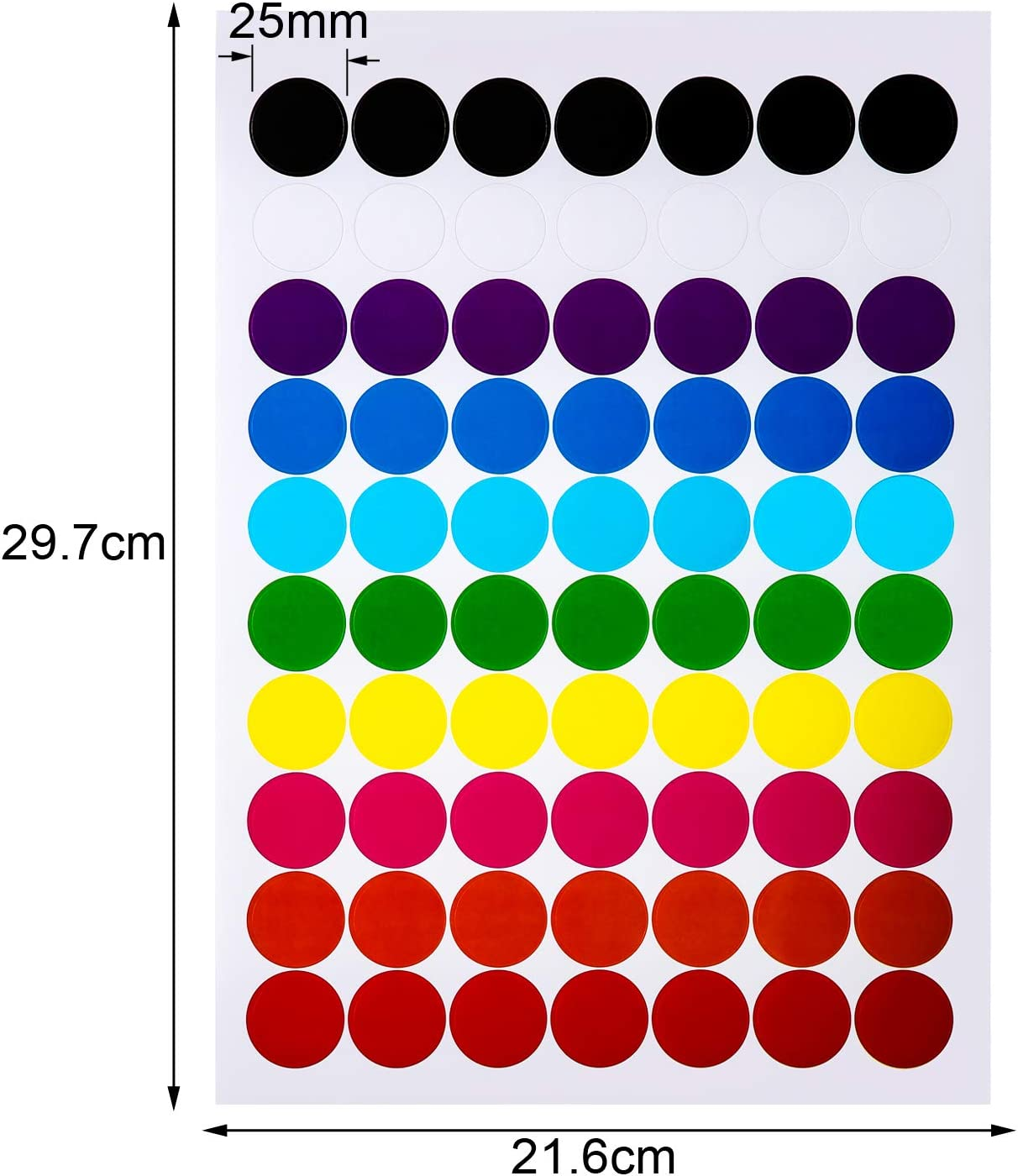 1400 Pieces, 25 mm Neon Colors Labels Boao Colored Round Dot Stickers Circle Dot Labels