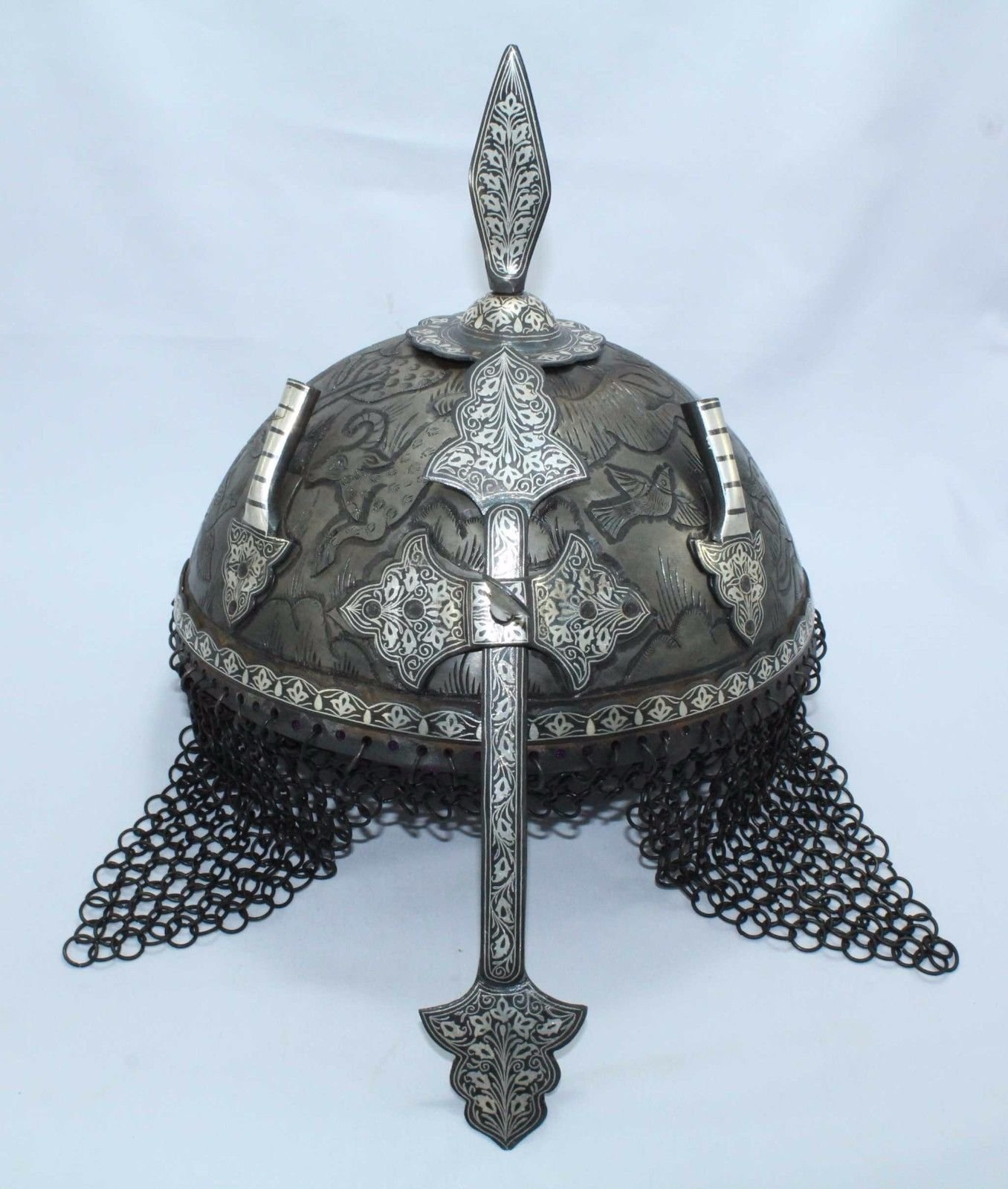 Rajasthan Gems Islamic Mughal Rajput Knight Engraved Vintage Steel Armour Shield Helmet/Silver Wire Handwork Ancient Medieval Antique Crusader Chainmail Collectible-Home Decor