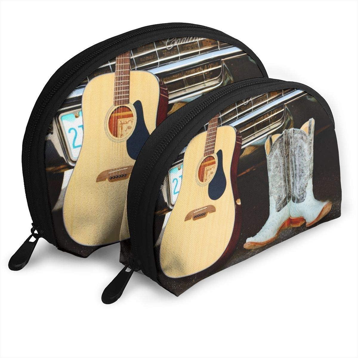 XCNGG Botas de vaquero Bolsa de almacenamiento de guitarra Monedero Bolsa de almacenamiento de viaje cosmético Uno grande y uno pequeño 2 piezas Papelería Lápiz Bolsa multifunción Cartera para niños E