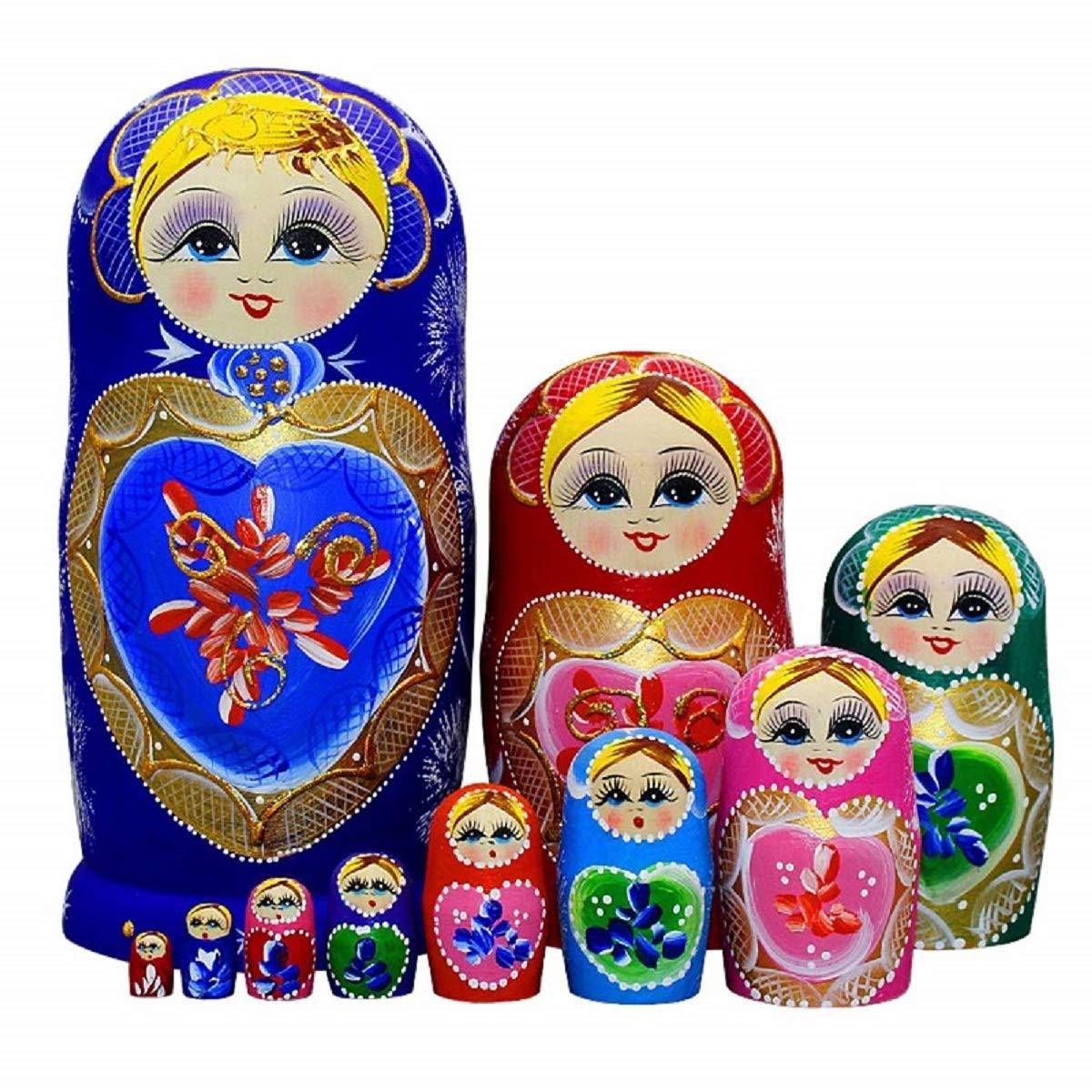 King&Light 10pcs B Heart-shaped pattern Wooden nesting toys Russian dolls Matryoshka stacking dolls by LK