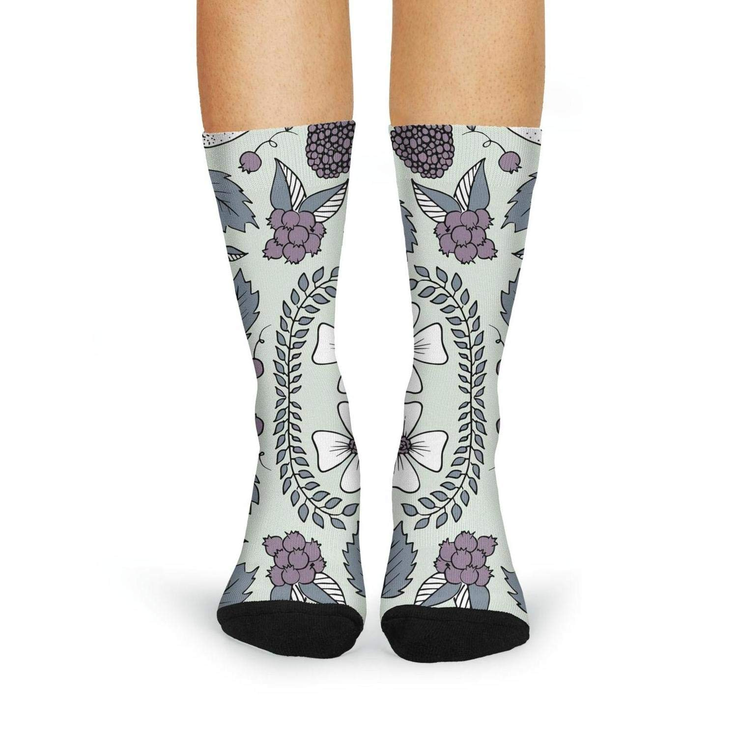 XIdan-die Womens Over-the-Calf Tube Socks Floral And Berry Pattern Moisture Wicking Casual Socks