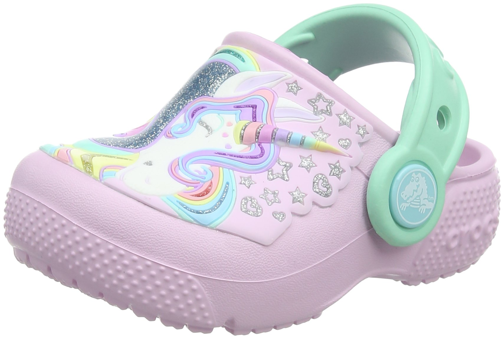 Crocs Crocband Fun Lab Graphic Light-Up Clog, Ballerina Pink/New Mint, 9 M US Toddler