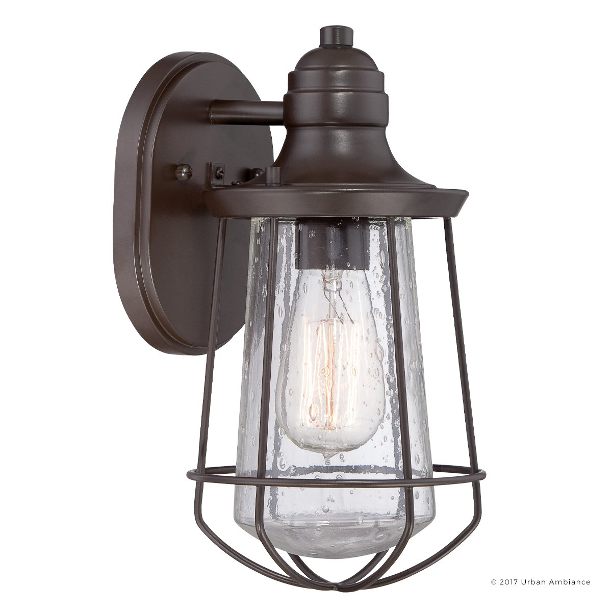 Luxury Vintage Outdoor Wall Light, Small Size: 11.25''H x 6.25''W, with Nautical Style Elements, Cage Design, Estate Bronze Finish and Seeded Glass, Includes Edison Bulb, UQL1120 by Urban Ambiance