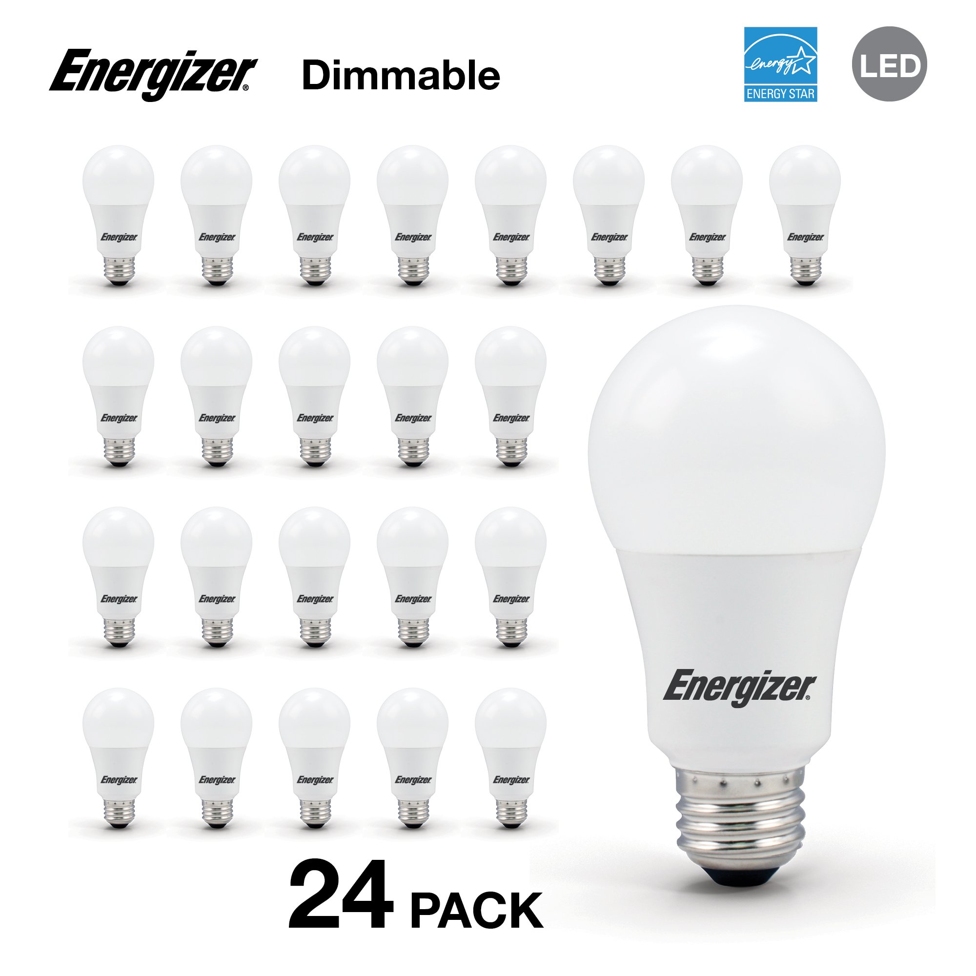 Energizer A19 60 Watt Equivalent Energy Star LED Light Bulb (Dimmable), 24-Pack, Soft White