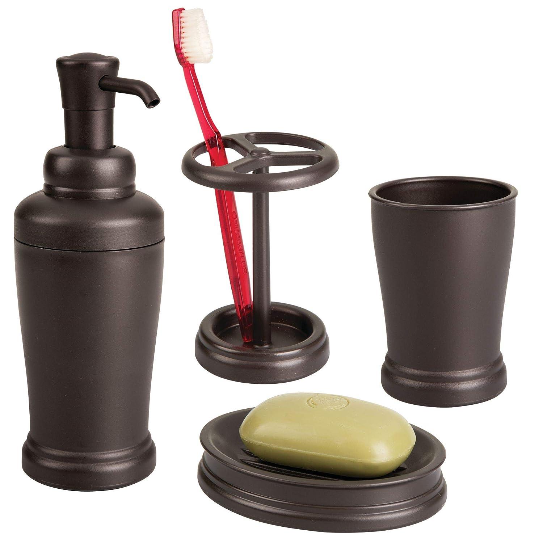 color bronce organizador de ba/ño de pl/ástico para el cepillo de dientes o los utensilios de maquillaje InterDesign Kent Portacepillos de dientes