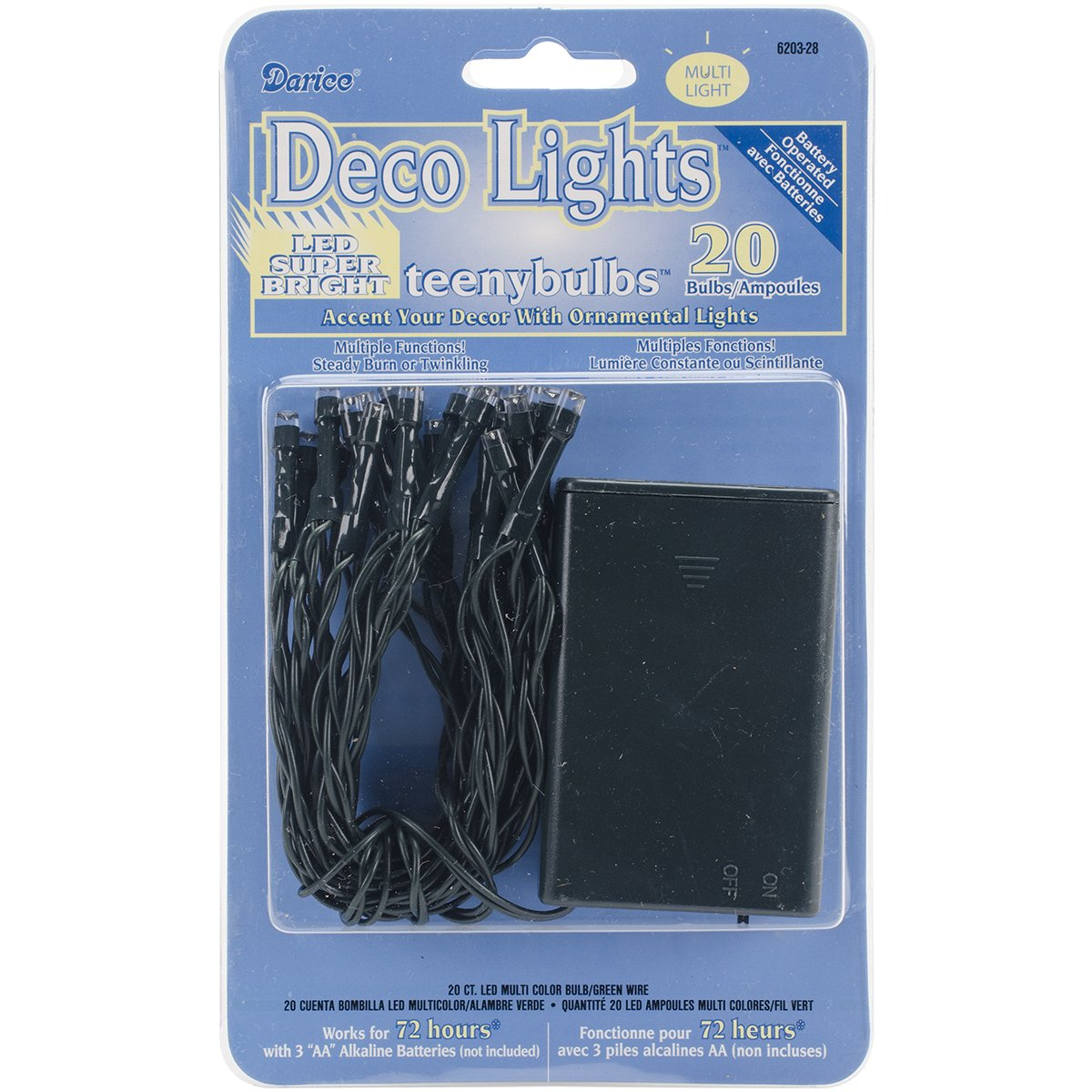 Amazon.com: Darice 620328 Deco Lights Battery Operated Teeny Bulbs with Green Cord (20 Bulbs), Multicolored: Arts, Crafts & Sewing