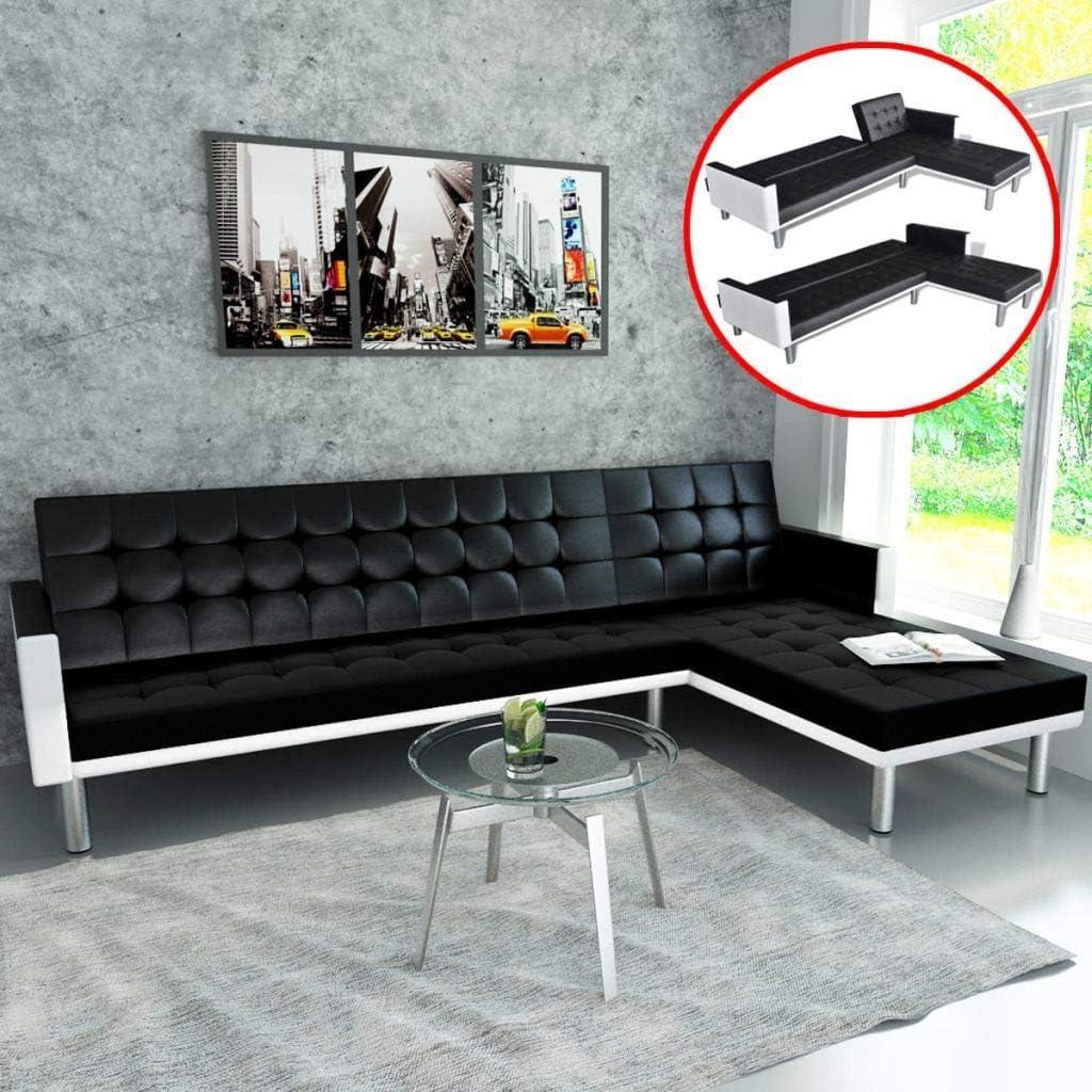 UnfadeMemory Sofa Cama de Salon en Forma de L,Decoración de Hogar,Diseño Moderno,Modo de Sofá con 2 Posiciones Ajustables,Estructura de Madera,Tapicería de Cuero Sintético (Negro y Blanco)