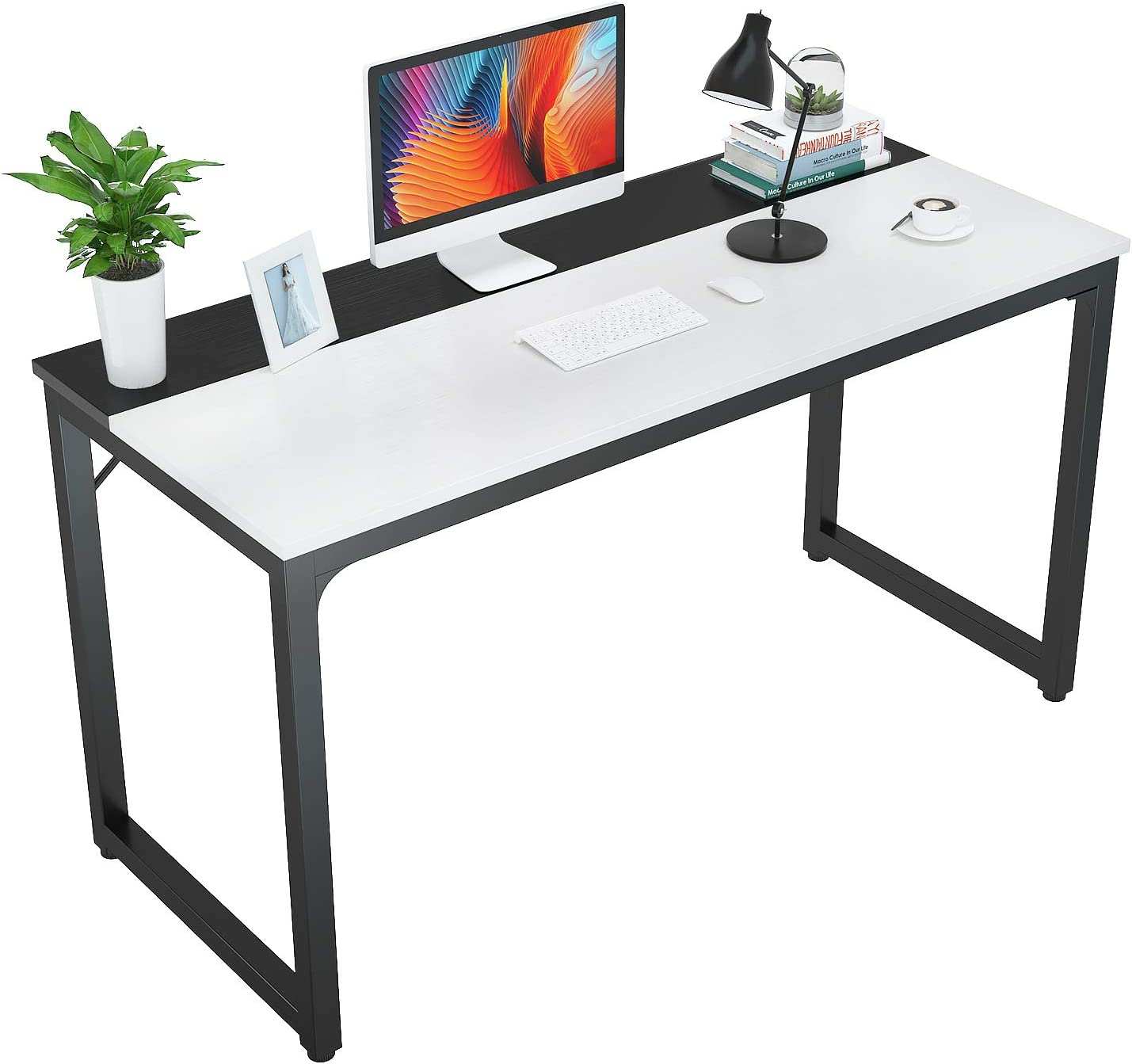 """Foxemart 47 Inch Computer Table Sturdy Office Desk, Modern PC Laptop 47"""" Writing Study Gaming Desk for Home Office Workstation, White and Black"""