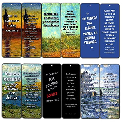 amazon com spanish bible inspirational bookmarks cards be strong