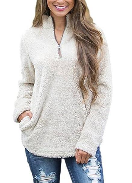 Tayaho Peloso Lunga Pullover Puro Manica Inverno Felpa Donna Colore x8fravxn