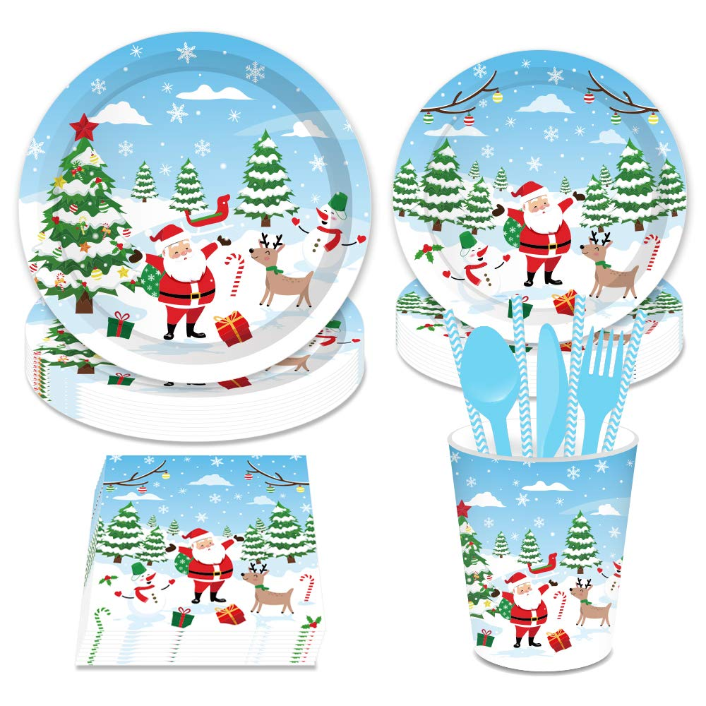 CC HOME 136 Piece Christmas Party Supplies Set Including Plates  Cups  Napkins  Spoon  Fork  and Knives  Disposable Dinnerware Set Serves 16
