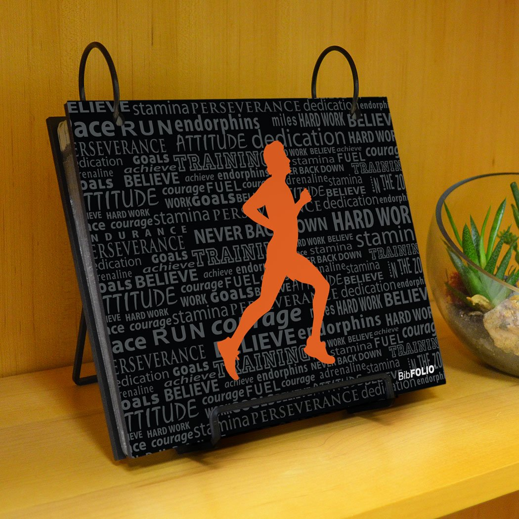 Gone For a Run BibFOLIO Race Bib Album | Bib Holder Running Inspiration Male | Black/Orange by Gone For a Run (Image #4)