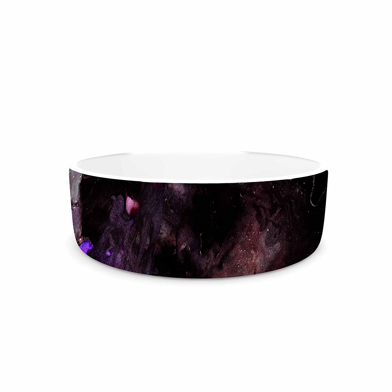 KESS InHouse Claire Day Haunted Black Purple Abstract Painting Pet Bowl, 7  Diameter