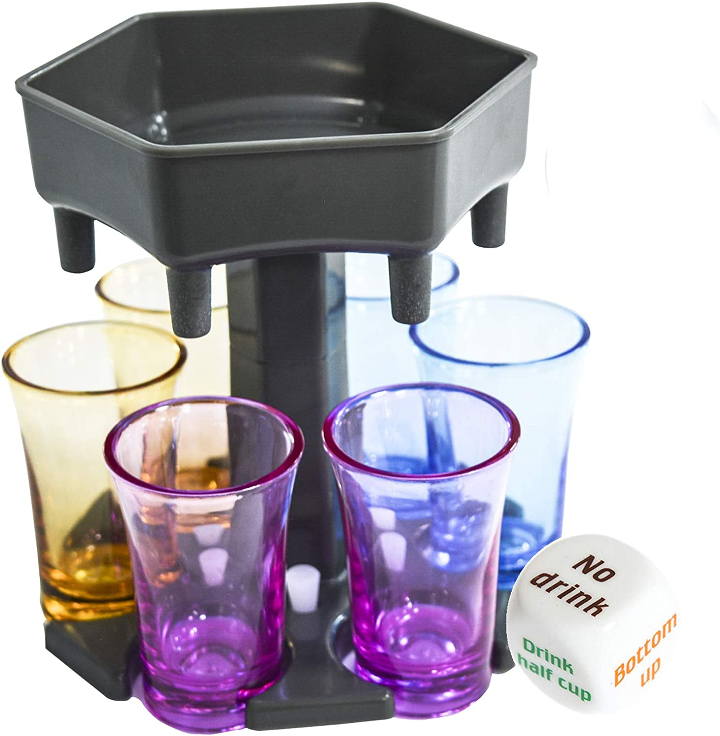 6 Shot Glass Dispenser and Holder, Drink Dispenser with Game Dice, Liquor Dispenser with 6 Colorful Glasses, Drinking Game Dispenser for Cocktail Party, Perfect Gift for Friends