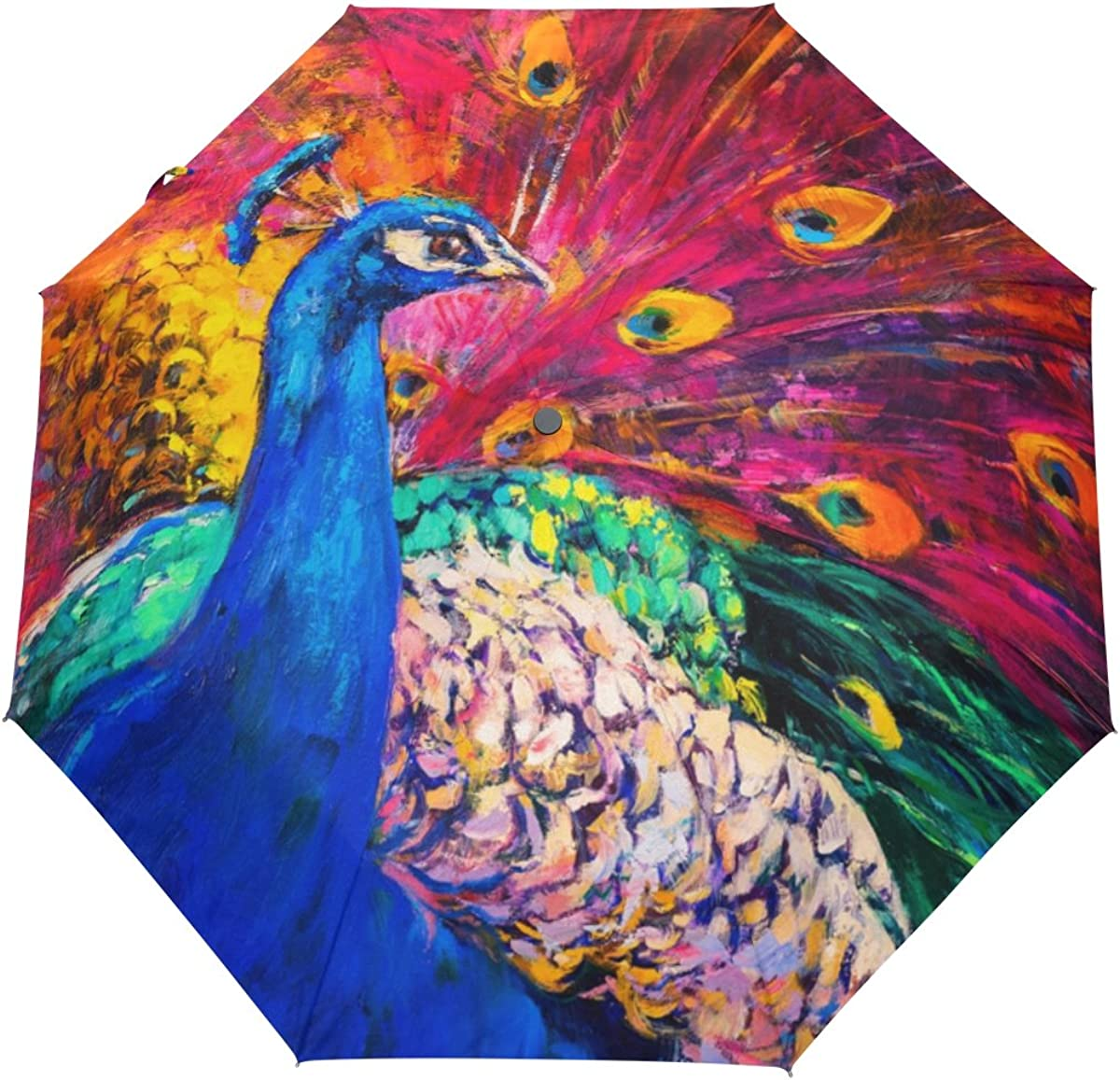 My Daily Multicolored Peacock Oil Painting Travel Auto Open//Close Umbrella with Anti-UV Windproof Lightweight