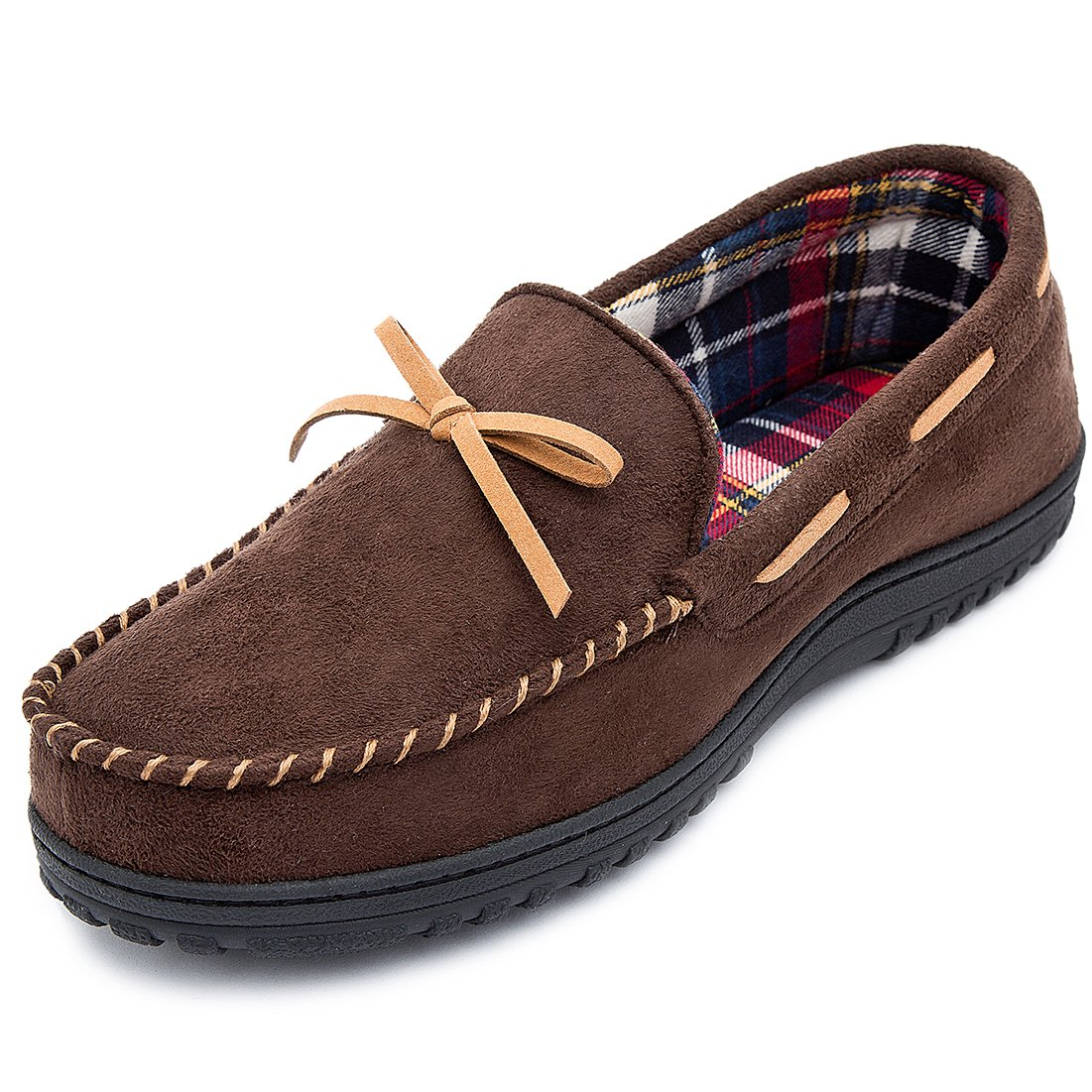 RockDove Men's Memory Foam Faux Moosehide Moccasin Slippers(12 D(M) US,Moose/Tan)