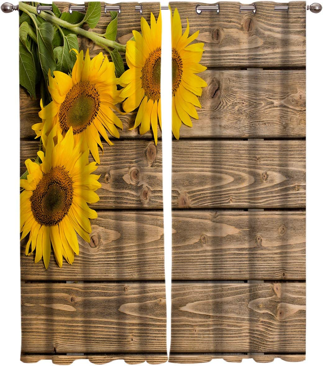 T H Home Draperies Curtains Set, Custom Sunflowers on Rustic Old Barn Wood Print Window Curtain, 2 Panels Curtain for Sliding Glass Door Bedroom Living Room, 54 W by 39 L