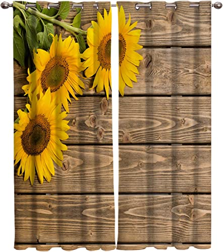 FortuneHouse8 Blackout Curtains Thermal Insulated Custom Sunflowers on Rustic Old Barn Wood Print Room Drapes Window Curtain