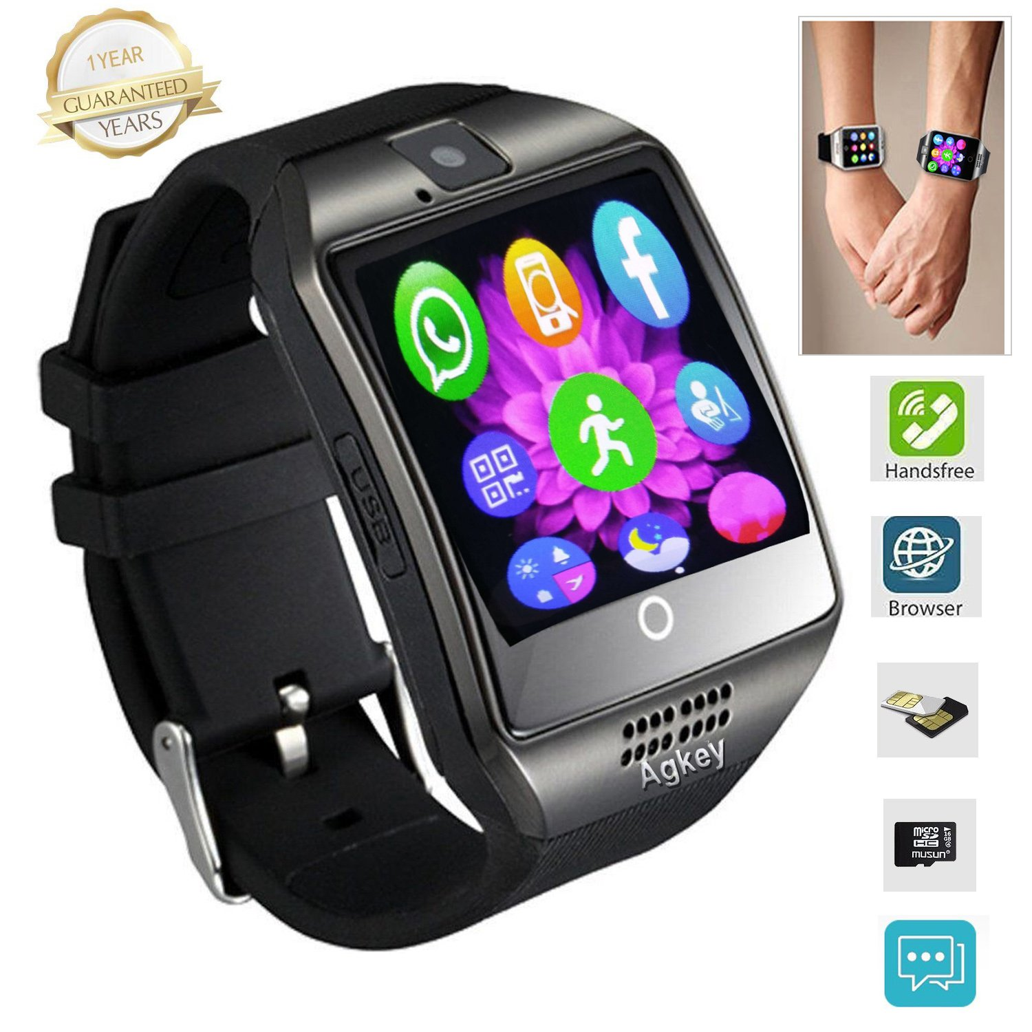camera watch touch pin com for smart samsung os smartphone ios phone bluetooth watches amazon and screen phones wristwatch with cell android black