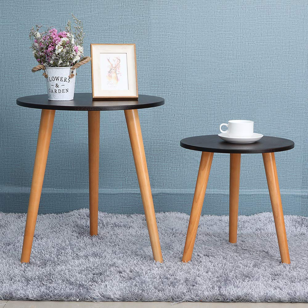 IWELL Nesting Tables Coffee End Tables Set of 2 for Living Room, Sofa Table Side Table with Rubber Wood Leg,Sturdy and Easy Assembly,Brown and Natural BZX001X