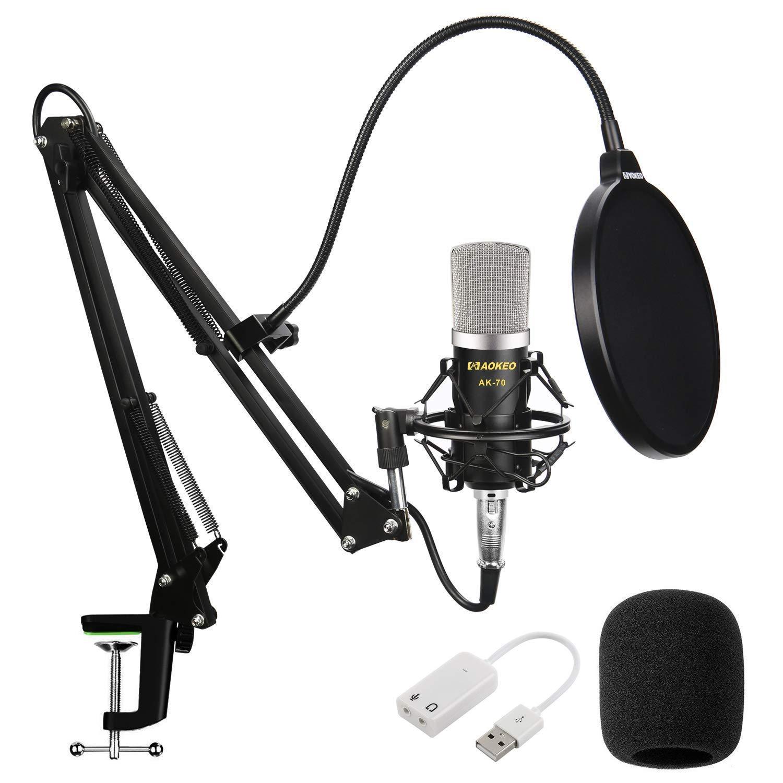 Aokeo Ak-70 Professional Studio Live Stream Broadcasting Microfono De Condensador De Grabacion Con Soporte De Brazo De T
