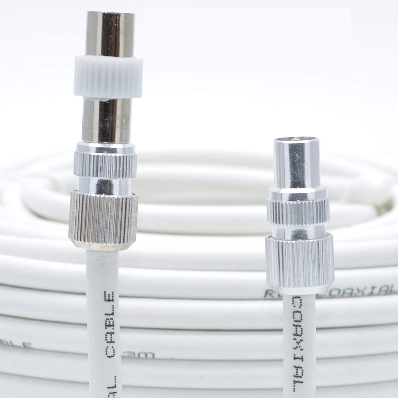 Kit de cable de extensión aéreo, de Sky Satellites, de 10 m, completamente ensamblado, para la TV digital, con conexiones macho, blanco