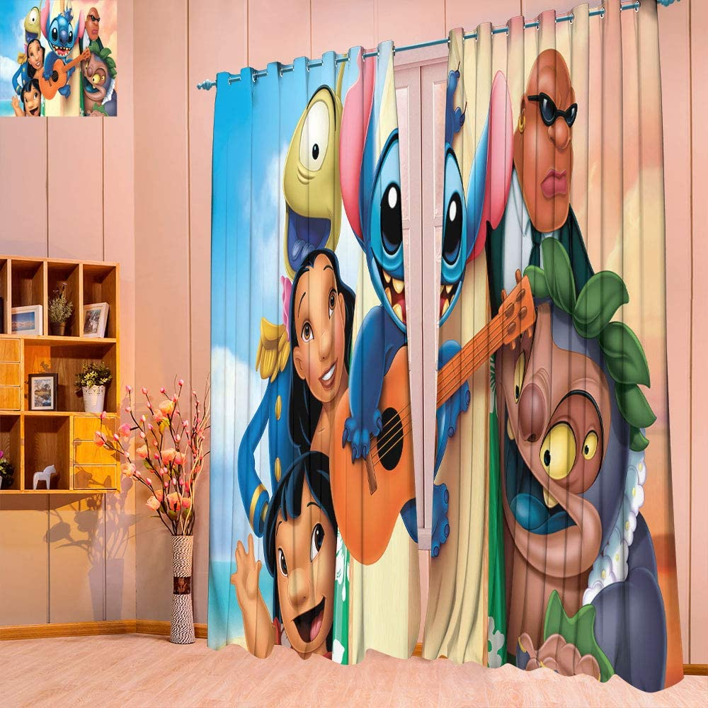 Customized Chid Curtains Room Darkening Wide Curtains W72 X L84 Lilo and Stitch Curtains for Child Living Room