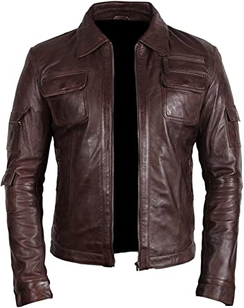 LEATHERAY Mens Fashion Real Leather Jacket Brown
