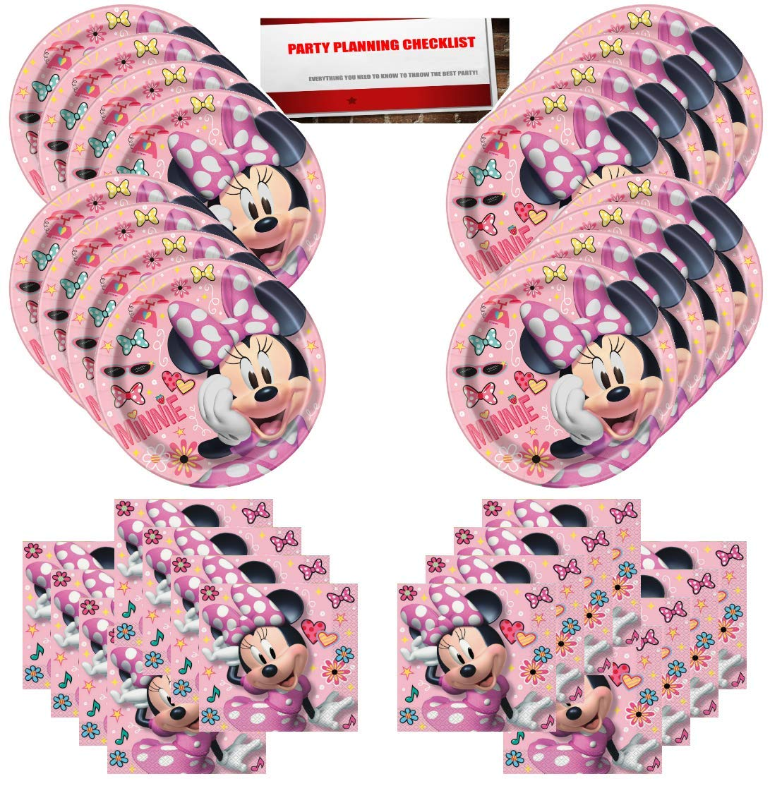 Plus Party Planning Checklist by Mikes Super Store Disney Minnie Mouse Pink Birthday Party Supplies Bundle Pack for 16 Guests