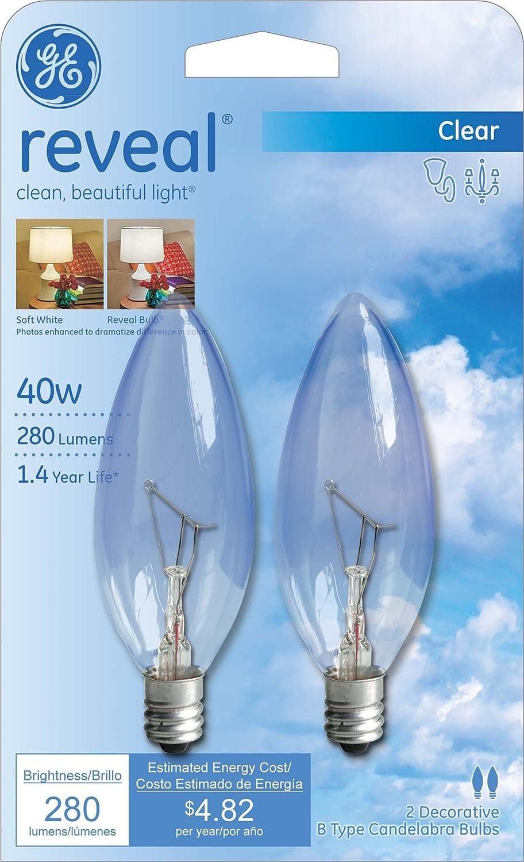 Amazon ge lighting 48701 40 watt reveal blunt tip b10 2 pack amazon ge lighting 48701 40 watt reveal blunt tip b10 2 pack home improvement arubaitofo Gallery