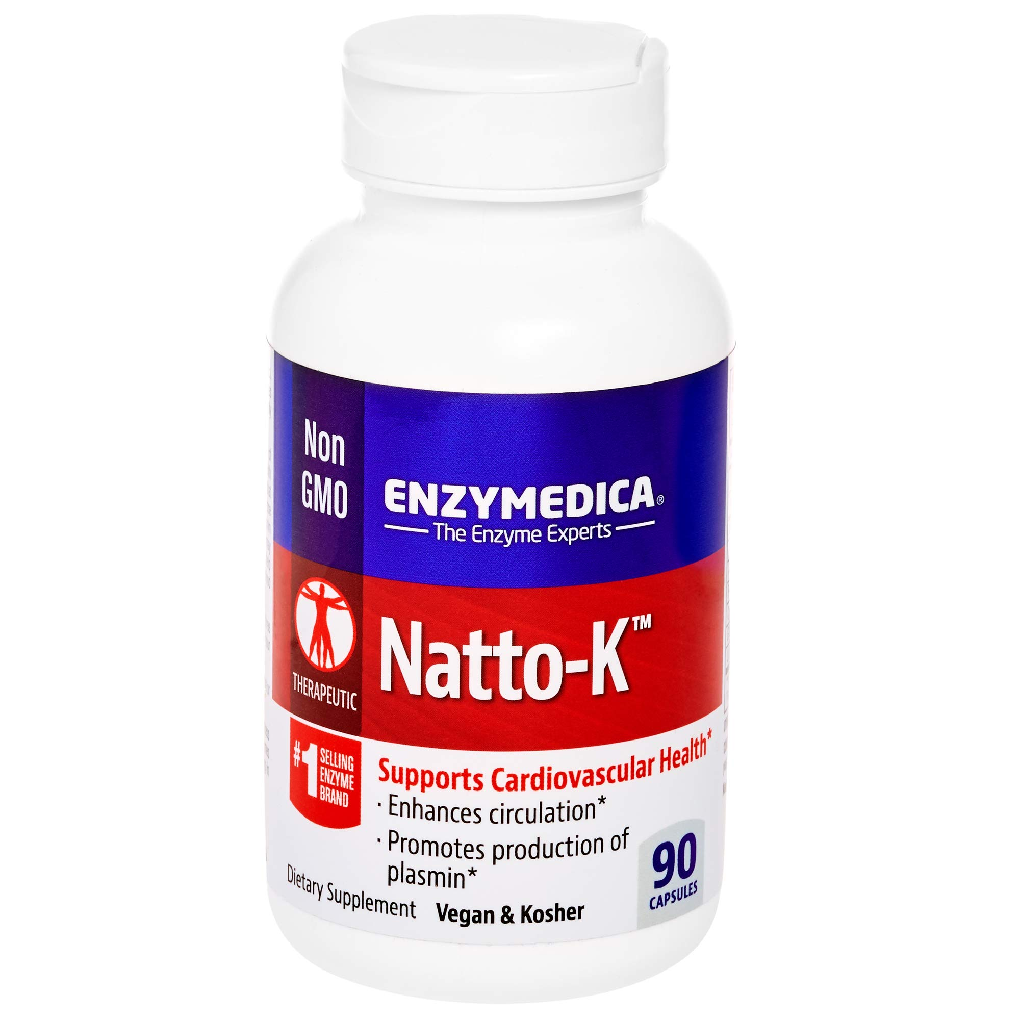 Enzymedica, Natto-K, Enzyme Supplement to Support Cardiovascular Health, Vegan, Kosher, 90 Capsules (90 Servings) (FFP)