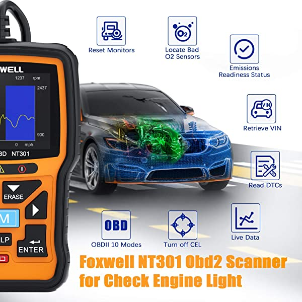 Foxwell NT301 is the Mercedes Diagnostic Tool which supports cars and light trucks, SUVs, and 12V diesel vehicles