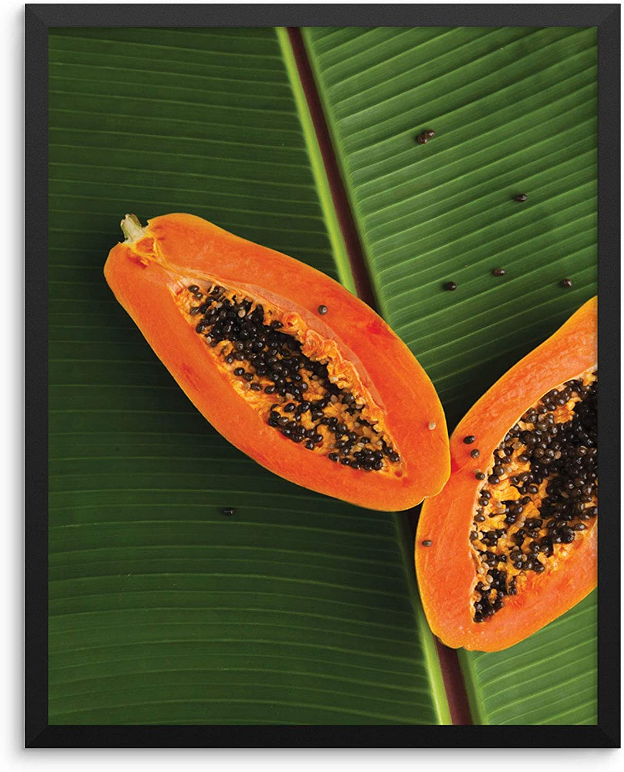 """Sincerely, Not Papaya Kitchen Decor Art Print Tropical Palm Leaf Botanical Wall Poster 11""""x14"""" UNFRAMED Trendy Colorful Artwork for Dining Room or Restaurant (11""""x14"""" Papaya)"""