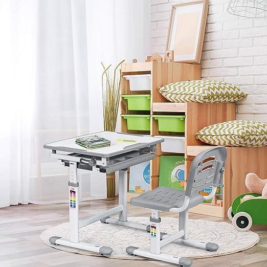 COSTWAY Juego de escritorio y silla para niños, escritorio ...