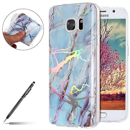 c56d8fd4d7a Uposao Funda para Samsung Galaxy S7 Mármol Funda Suave TPU Gel Cascara Lujo  Glitter Brillante Brillo