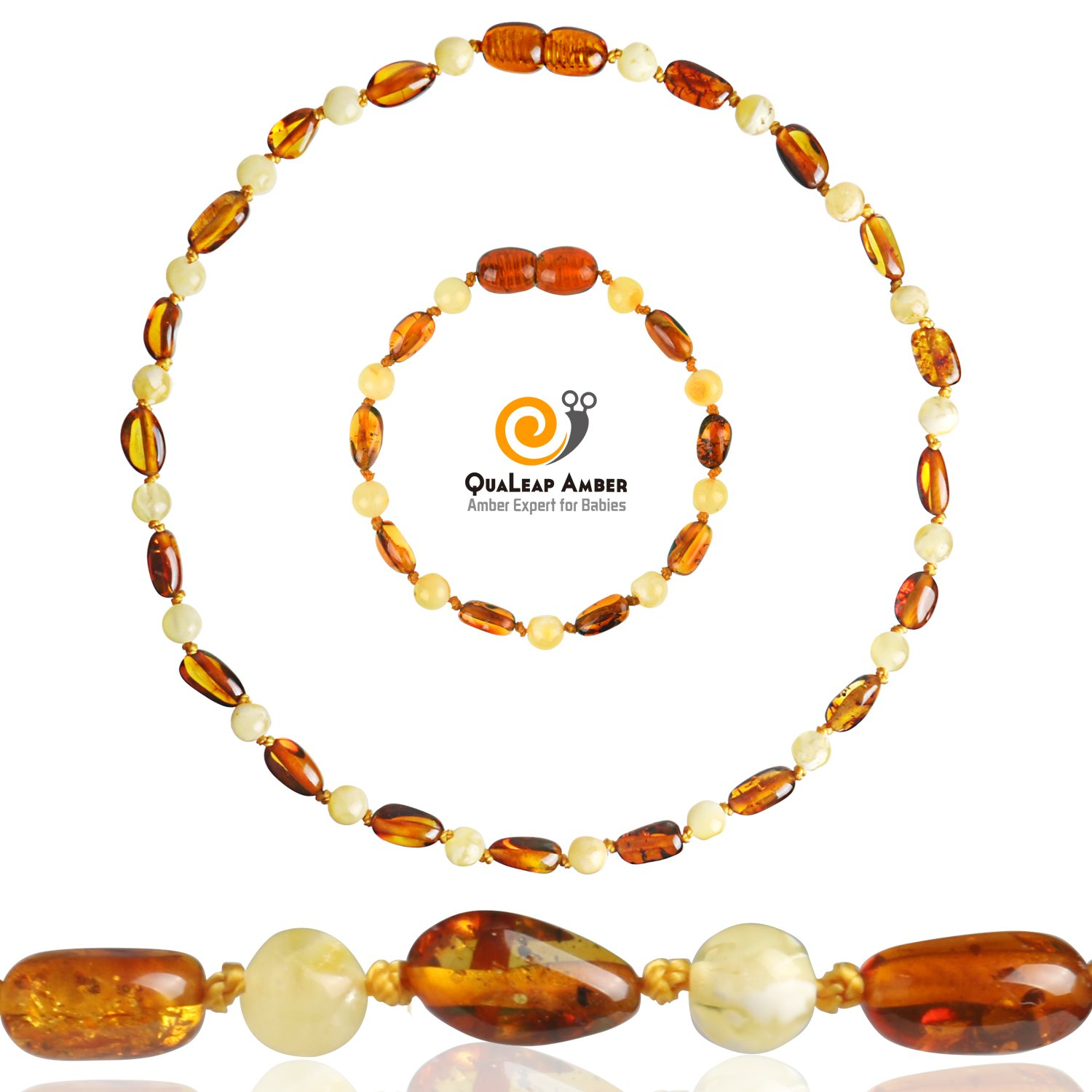 Baltic Amber Teething Necklace + Amber Teething Anklet Set for Baby, 100% Authentic Amber Necklace & Amber Teething Bracelet for Infant & Toddler (Unisex – Cognac/Milk - 12.5 Inches / 5.5 Inches)