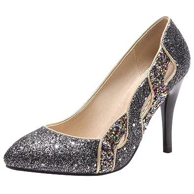 Aiyoumei Damen Glitzer High Heels Pumps Mit 10cm Absatz Stiletto