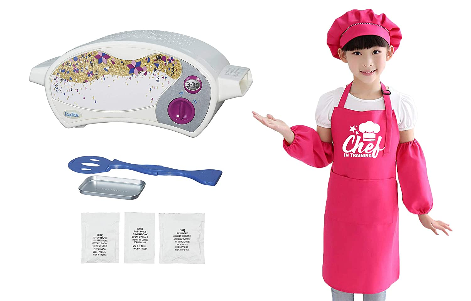 Sister Novelties Easy Bake Ultimate Oven Bundled with Childrens Chef in Training Apron Set, Apron with Matching Chef Hat and Sleeves for Boys and Girls (Pink Aprons Set + Easy Bake Oven)