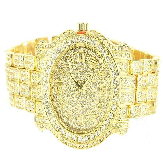 56a0b751cfad9f Ice king Lab Diamond Brick Design Yellow Gold Finish Classy Analogue Men s  Watch