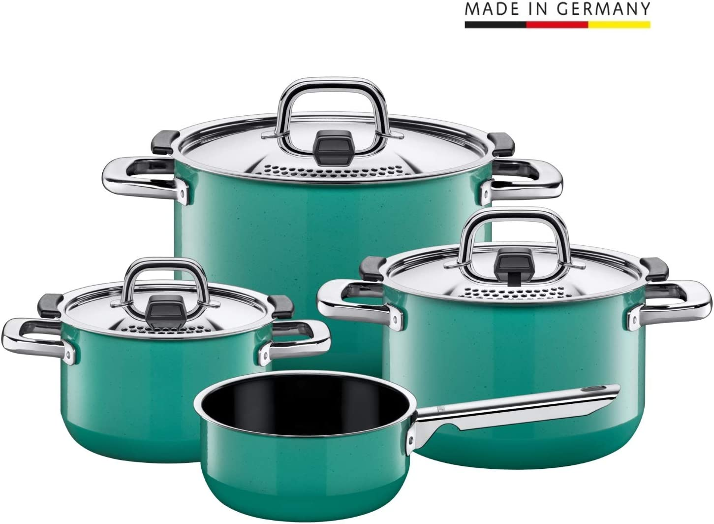 Silit Pot Set, 4-Piece, Nature Green. Metal Control lid, Made in Germany, Silargan Functional Ceramic, Suitable for Induction hobs, Dishwasher Safe