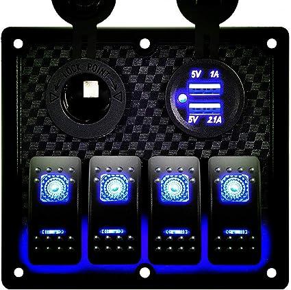 6 Gang Rocker Switch Panel Circuit Breaker+LED Voltmeter 12V RV//Car//Marine//Boat