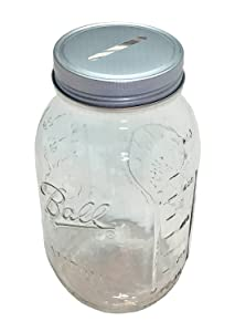 1 Mason Jar with 1-piece Slotted Bank Jar Lid Regular Mouth Quart 32oz Piggy Bank for All Ages (1)