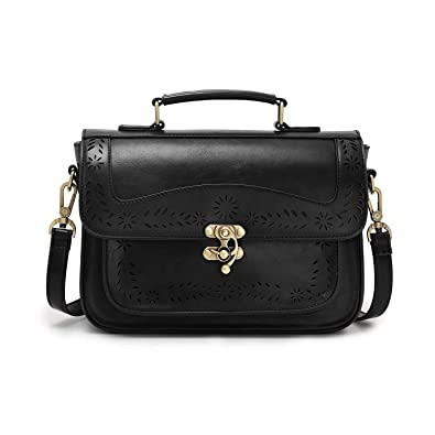 5acb29bf6f3b Amazon.com  ECOSUSI Vintage Girl s Faux Leather Satchel Purse Small School  Crossbody Messenger Bag Work Cross-body Bag  Shoes