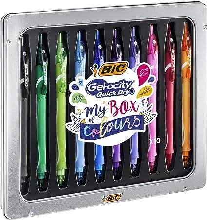 BIC My Box of Colours Gel-ocity Quick Dry bolígrafos de Gel de punta media (0,7 mm) - Varios colores, Caja Metálica de Regalo con 10 Uds.