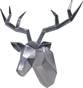 Deer Head Wall Decor Geometrical Silver Antler Decor Wall Sculpture Faux Taxidermy Resin Wall Animal Head 14x5.5x11 Inches