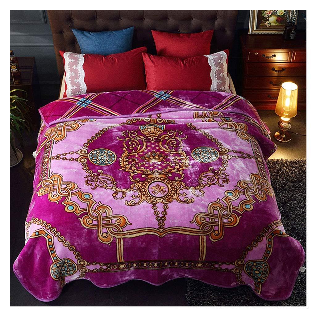 毛布Raschel柔らかいふわふわコージーダブル厚い暖かいローマ様式毛布200 * 230cmを投げる (色 : 紫の) B07J3B4ZN8 紫の