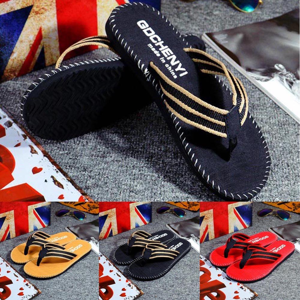 Respctful✿Men Flip Flops Lightweight Casual Thong Sandals Outdoor Anti Slip Indoor Sandals Beach Slippers Khaki by Respctful_shoes (Image #7)